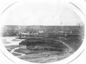 A photo of Wyoming's Fort Laramie in 1858. This year, gold was discovered at Cherry Creek near Denver, prompting the Colorado gold rush. Even at a distance of more than 200 miles from Denver, Fort Laramie became one of these miners' major connections to the world back East.